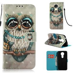 Sweet Gray Owl 3D Painted Leather Wallet Case for Motorola Moto E5 Plus