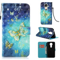 Gold Butterfly 3D Painted Leather Wallet Case for Motorola Moto E5 Plus