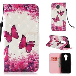 Rose Butterfly 3D Painted Leather Wallet Case for Motorola Moto E5 Plus