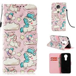 Angel Pony 3D Painted Leather Wallet Case for Motorola Moto E5 Plus