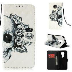 Skull Flower 3D Painted Leather Wallet Case for Motorola Moto E5 Plus