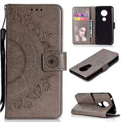 Intricate Embossing Datura Leather Wallet Case for Motorola Moto E5 Plus - Gray