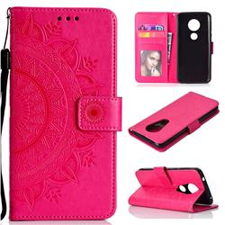 Intricate Embossing Datura Leather Wallet Case for Motorola Moto E5 Plus - Rose Red