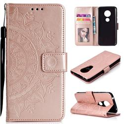 Intricate Embossing Datura Leather Wallet Case for Motorola Moto E5 Plus - Rose Gold