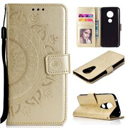 Intricate Embossing Datura Leather Wallet Case for Motorola Moto E5 Plus - Golden