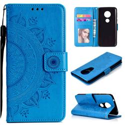 Intricate Embossing Datura Leather Wallet Case for Motorola Moto E5 Plus - Blue