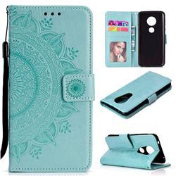 Intricate Embossing Datura Leather Wallet Case for Motorola Moto E5 Plus - Mint Green