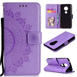 Intricate Embossing Datura Leather Wallet Case for Motorola Moto E5 Plus - Purple