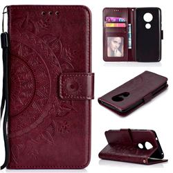 Intricate Embossing Datura Leather Wallet Case for Motorola Moto E5 Plus - Brown