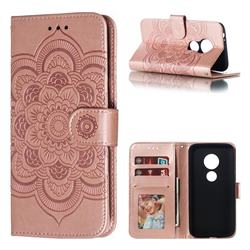 Intricate Embossing Datura Solar Leather Wallet Case for Motorola Moto E5 Play Go - Rose Gold