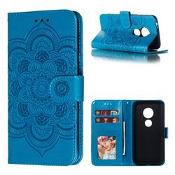 Intricate Embossing Datura Solar Leather Wallet Case for Motorola Moto E5 Play Go - Blue