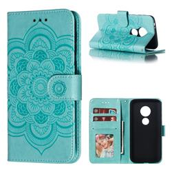 Intricate Embossing Datura Solar Leather Wallet Case for Motorola Moto E5 Play Go - Green