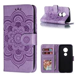Intricate Embossing Datura Solar Leather Wallet Case for Motorola Moto E5 Play Go - Purple
