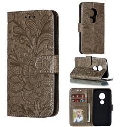 Intricate Embossing Lace Jasmine Flower Leather Wallet Case for Motorola Moto E5 Play Go - Gray