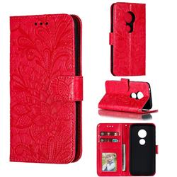 Intricate Embossing Lace Jasmine Flower Leather Wallet Case for Motorola Moto E5 Play Go - Red