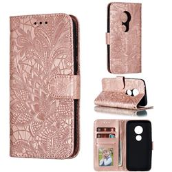 Intricate Embossing Lace Jasmine Flower Leather Wallet Case for Motorola Moto E5 Play Go - Rose Gold
