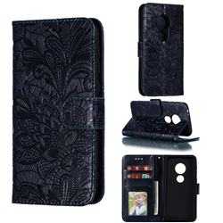 Intricate Embossing Lace Jasmine Flower Leather Wallet Case for Motorola Moto E5 Play Go - Dark Blue