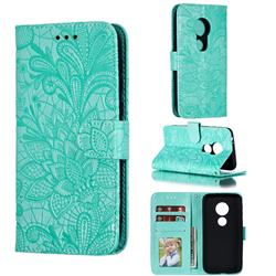 Intricate Embossing Lace Jasmine Flower Leather Wallet Case for Motorola Moto E5 Play Go - Green