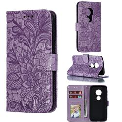 Intricate Embossing Lace Jasmine Flower Leather Wallet Case for Motorola Moto E5 Play Go - Purple