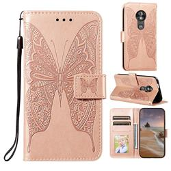 Intricate Embossing Vivid Butterfly Leather Wallet Case for Motorola Moto E5 Play Go - Rose Gold