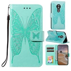 Intricate Embossing Vivid Butterfly Leather Wallet Case for Motorola Moto E5 Play Go - Green