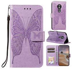 Intricate Embossing Vivid Butterfly Leather Wallet Case for Motorola Moto E5 Play Go - Purple