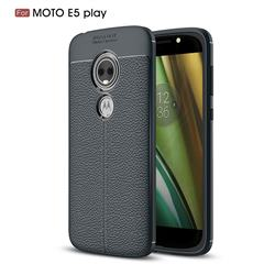 Luxury Auto Focus Litchi Texture Silicone TPU Back Cover for Motorola Moto E5 Play - Dark Blue