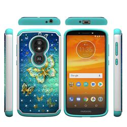 Gold Butterfly Studded Rhinestone Bling Diamond Shock Absorbing Hybrid Defender Rugged Phone Case Cover for Motorola Moto E5 Play