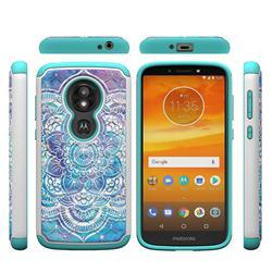 Mandala Studded Rhinestone Bling Diamond Shock Absorbing Hybrid Defender Rugged Phone Case Cover for Motorola Moto E5 Play