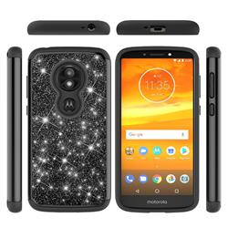 Glitter Rhinestone Bling Shock Absorbing Hybrid Defender Rugged Phone Case Cover for Motorola Moto E5 Play - Black