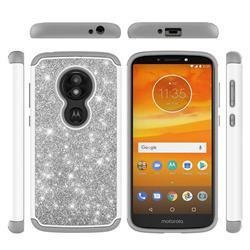 Glitter Rhinestone Bling Shock Absorbing Hybrid Defender Rugged Phone Case Cover for Motorola Moto E5 Play - Gray