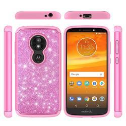 Glitter Rhinestone Bling Shock Absorbing Hybrid Defender Rugged Phone Case Cover for Motorola Moto E5 Play - Pink