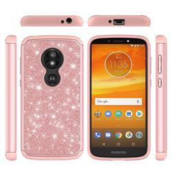 Glitter Rhinestone Bling Shock Absorbing Hybrid Defender Rugged Phone Case Cover for Motorola Moto E5 Play - Rose Gold