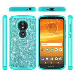 Glitter Rhinestone Bling Shock Absorbing Hybrid Defender Rugged Phone Case Cover for Motorola Moto E5 Play - Green