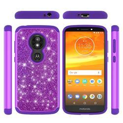 Glitter Rhinestone Bling Shock Absorbing Hybrid Defender Rugged Phone Case Cover for Motorola Moto E5 Play - Purple