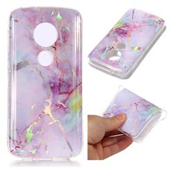 Pink Purple Marble Pattern Bright Color Laser Soft TPU Case for Motorola Moto E5 Play