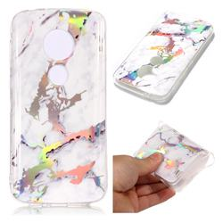 White Marble Pattern Bright Color Laser Soft TPU Case for Motorola Moto E5 Play
