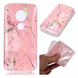 Powder Pink Marble Pattern Bright Color Laser Soft TPU Case for Motorola Moto E5 Play