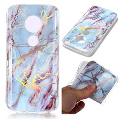 Light Blue Marble Pattern Bright Color Laser Soft TPU Case for Motorola Moto E5 Play
