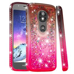 Diamond Frame Liquid Glitter Quicksand Sequins Phone Case for Motorola Moto E5 Play - Gray Pink