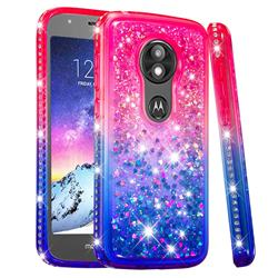 Diamond Frame Liquid Glitter Quicksand Sequins Phone Case for Motorola Moto E5 Play - Pink Blue