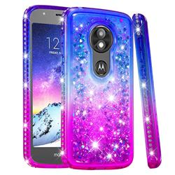 Diamond Frame Liquid Glitter Quicksand Sequins Phone Case for Motorola Moto E5 Play - Blue Purple