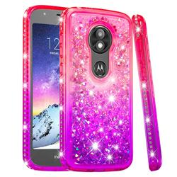 Diamond Frame Liquid Glitter Quicksand Sequins Phone Case for Motorola Moto E5 Play - Pink Purple