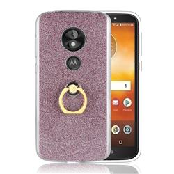 Luxury Soft TPU Glitter Back Ring Cover with 360 Rotate Finger Holder Buckle for Motorola Moto E5 Play - Pink