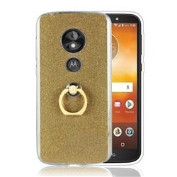 Luxury Soft TPU Glitter Back Ring Cover with 360 Rotate Finger Holder Buckle for Motorola Moto E5 Play - Golden