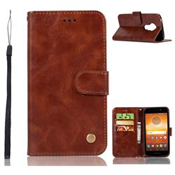 Luxury Retro Leather Wallet Case for Motorola Moto E5 Play - Brown