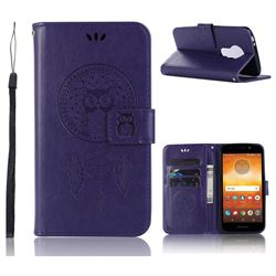 Intricate Embossing Owl Campanula Leather Wallet Case for Motorola Moto E5 Play - Purple