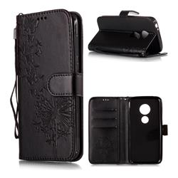 Intricate Embossing Dandelion Butterfly Leather Wallet Case for Motorola Moto E5 Play - Black