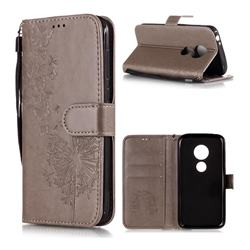 Intricate Embossing Dandelion Butterfly Leather Wallet Case for Motorola Moto E5 Play - Gray