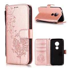 Intricate Embossing Dandelion Butterfly Leather Wallet Case for Motorola Moto E5 Play - Rose Gold
